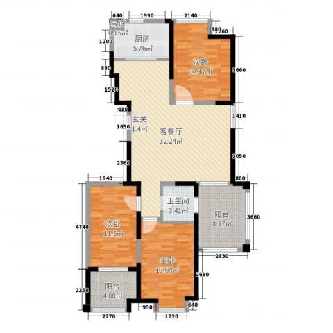 阿尔卡迪亚文承苑3室2厅1卫1厨115.00㎡户型图