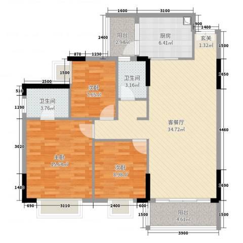 金河湾3室2厅2卫1厨114.00㎡户型图