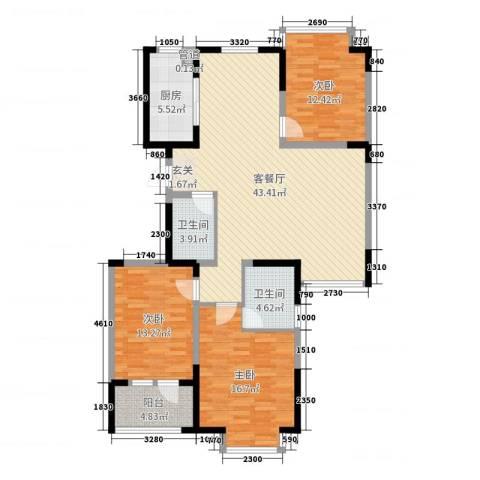阿尔卡迪亚文承苑3室2厅2卫1厨131.00㎡户型图