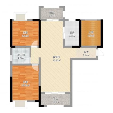 鼎盛鑫城2室2厅1卫1厨106.00㎡户型图
