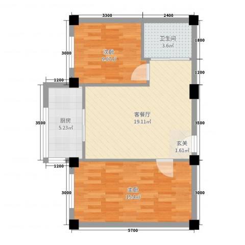 凤凰城2室2厅1卫1厨68.00㎡户型图
