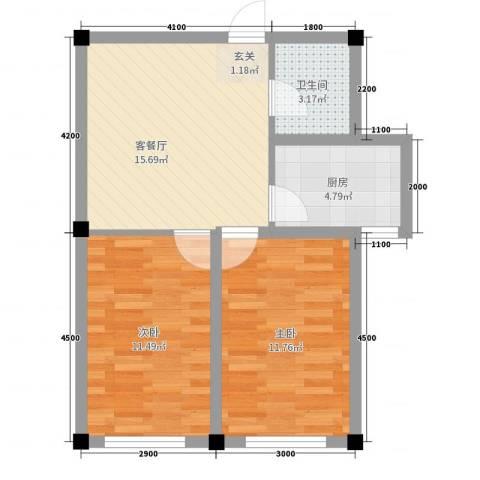 金瑞尚品2室2厅1卫1厨65.00㎡户型图
