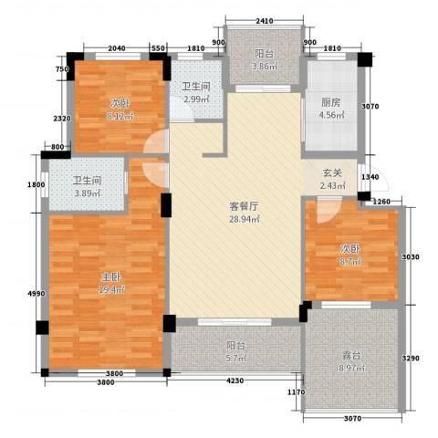 阳光下的红屋顶3室2厅2卫1厨114.00㎡户型图