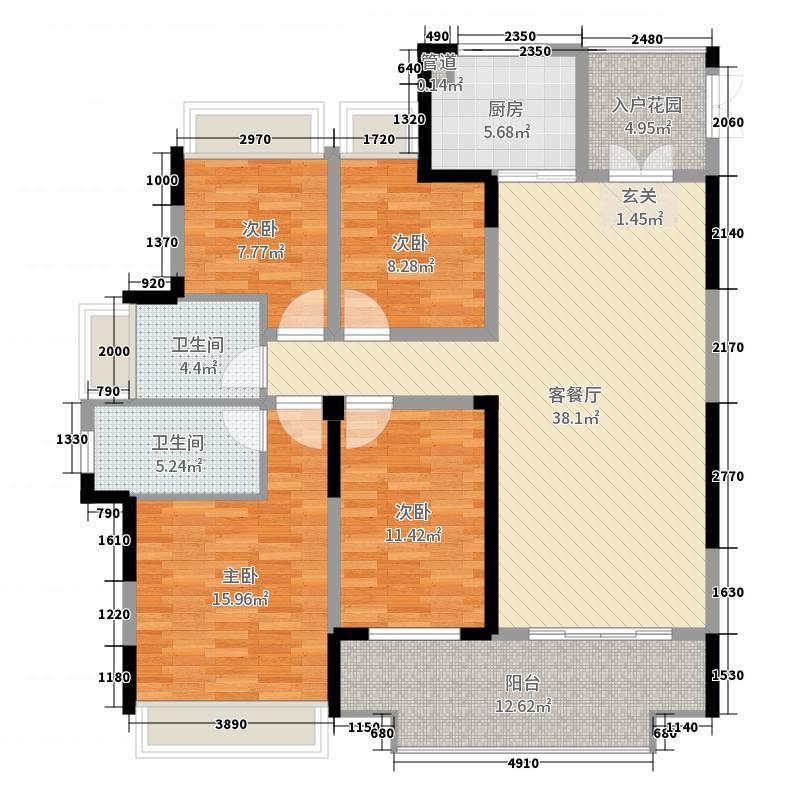 起点壹中心152.44㎡3#k-1户型4室4厅2卫1厨