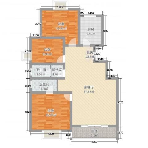 汶上如意花园3室2厅2卫1厨116.00㎡户型图