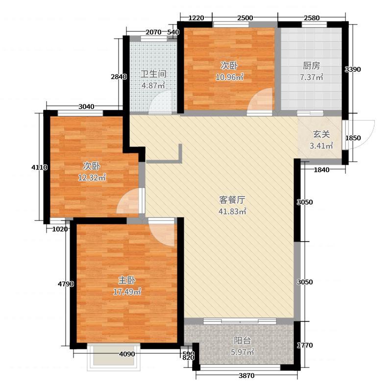 玉潭花溪126.00㎡6#标准层0B6户型3室3厅1卫1厨