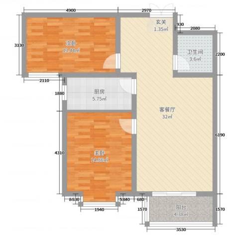 锦江华庭2室2厅1卫1厨93.00㎡户型图