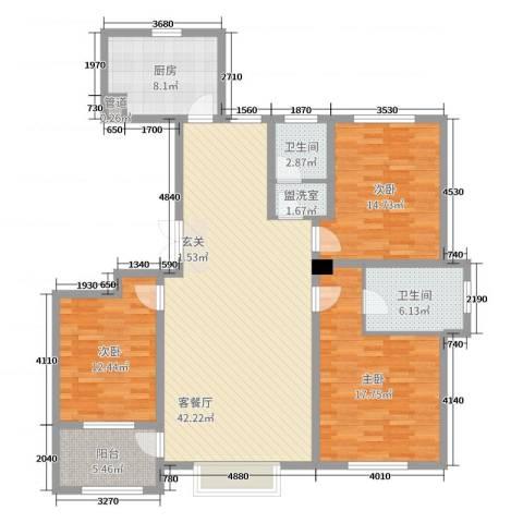 明潭府3室2厅2卫1厨140.00㎡户型图