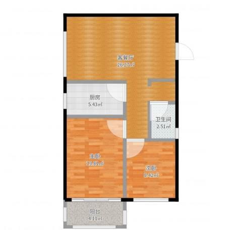 汇君城2室2厅1卫1厨83.00㎡户型图