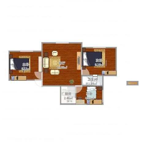 黄兴公寓3室1厅1卫1厨55.00㎡户型图