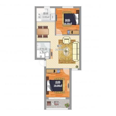 骆兴家园2室1厅1卫1厨67.00㎡户型图