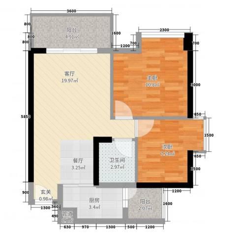 佳兆业水岸华都2室1厅1卫1厨69.00㎡户型图