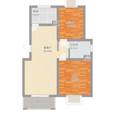 梵顿公馆2室2厅1卫1厨90.00㎡户型图