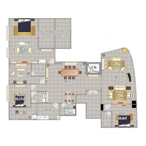 万科翡翠滨江3102室2厅4卫1厨378.00㎡户型图