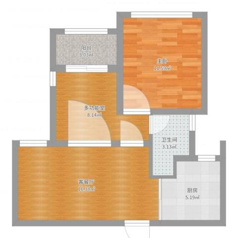 青浦区秀涓路46弄淞泽华城观景雅苑7号1202室1室2厅1卫1厨59.00㎡户型图
