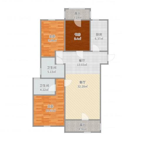啊啊的时间和健康3室1厅2卫1厨111.00㎡户型图