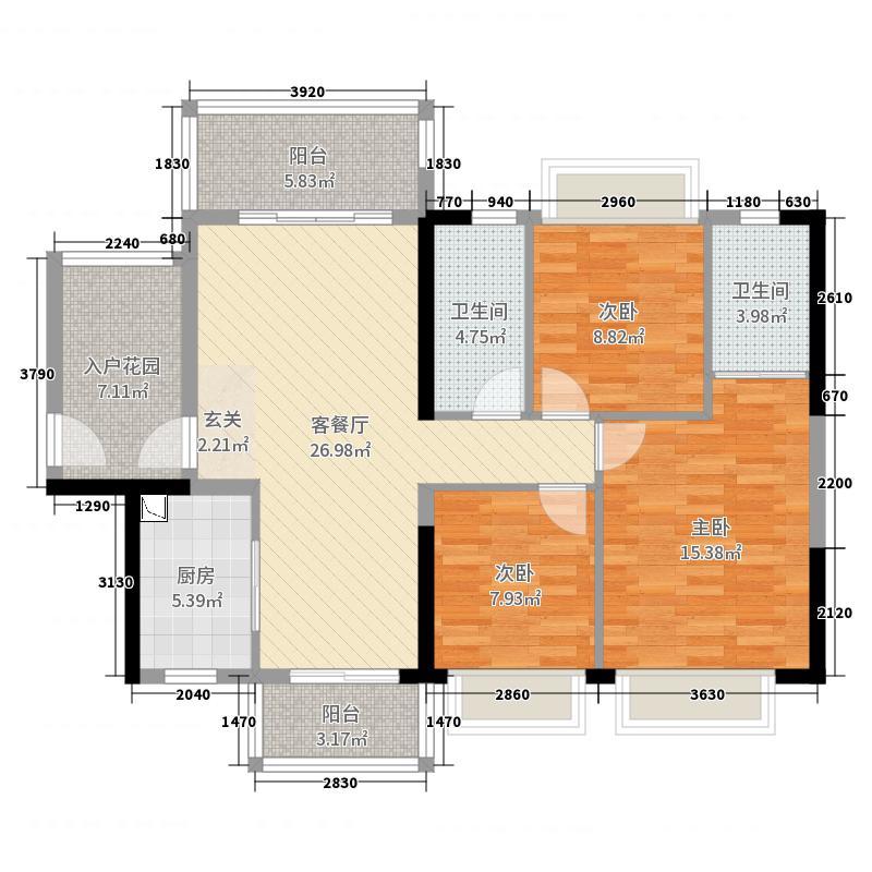 越秀可逸豪苑117.00㎡22幢02户型3室3厅2卫1厨