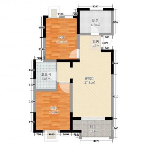 金浦御龙湾2室2厅1卫1厨86.00㎡户型图