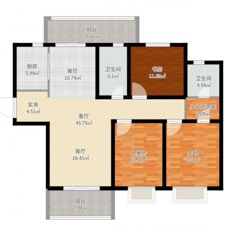 华润中海凯旋门欧式3室1厅2卫1厨152.00㎡户型图