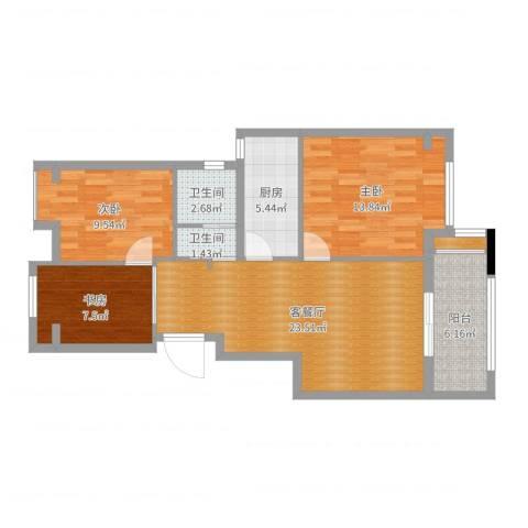 颐景园36号1013室2厅2卫1厨70.65㎡户型图