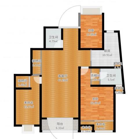 高新花园二期2室2厅2卫1厨193.00㎡户型图
