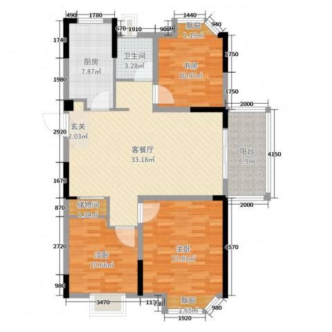 金浦御龙湾3室2厅1卫1厨115.00㎡户型图