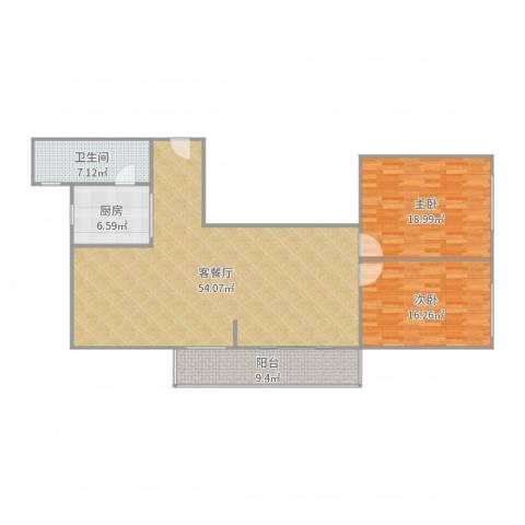 鸿业新天地2室2厅1卫1厨141.00㎡户型图