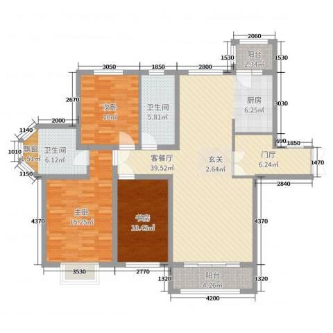 宏润翠湖天地3室2厅2卫0厨135.00㎡户型图
