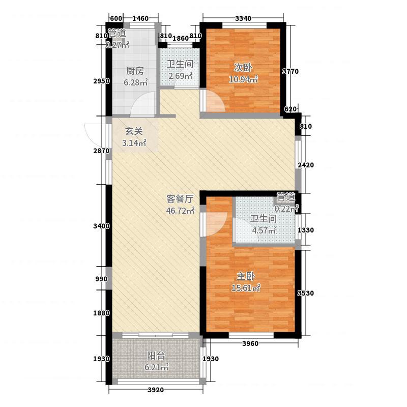 金科财富商业广场116.85㎡12-1户型3室3厅2卫1厨