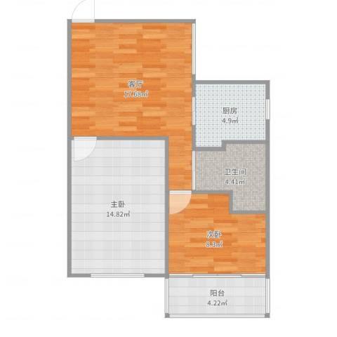 控江一村2室1厅1卫1厨68.00㎡户型图