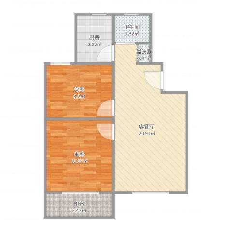 控江一村2室4厅1卫1厨63.00㎡户型图