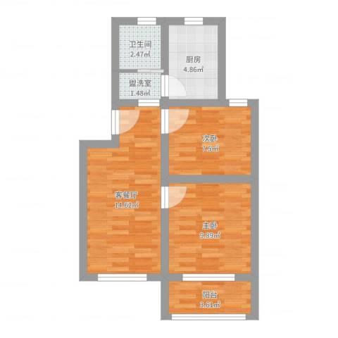 控江一村2室4厅1卫1厨56.00㎡户型图