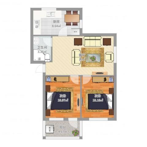 桑园新村2室1厅1卫1厨70.00㎡户型图