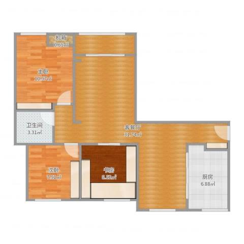 绿都温莎城堡3室2厅1卫1厨92.00㎡户型图