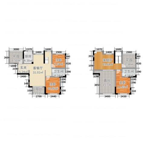 佛奥康桥水岸3室2厅2卫1厨153.00㎡户型图
