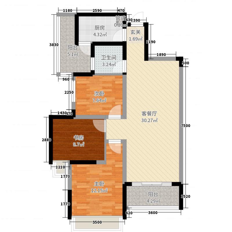亨特翰林溪苑98.62㎡C1-C5型户型3室3厅1卫1厨