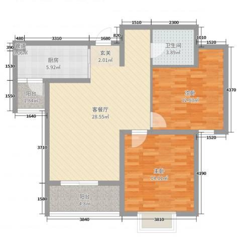栖里凤台山庄2室2厅1卫1厨90.00㎡户型图