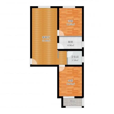 龙强印象2室2厅1卫1厨78.00㎡户型图
