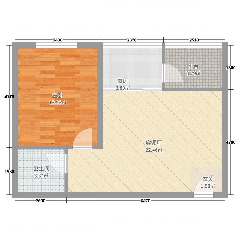 紫薇・香河湾58.00㎡1户型1室1厅1卫1厨