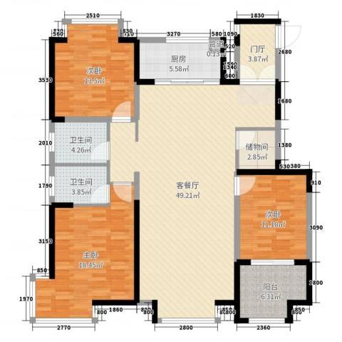 阿尔卡迪亚文承苑3室2厅2卫1厨149.00㎡户型图