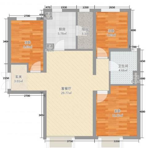 富力新城3室2厅1卫1厨102.00㎡户型图