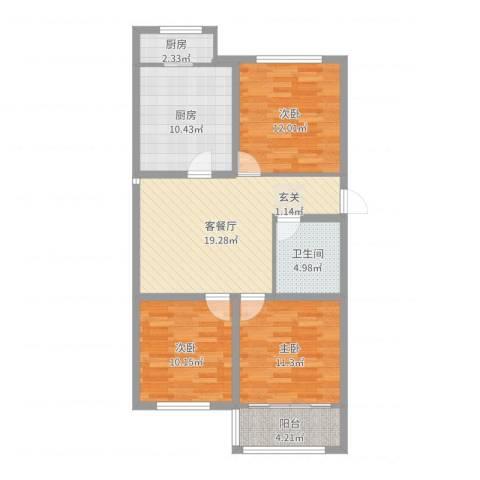 海阳海天景苑3室2厅1卫2厨93.00㎡户型图