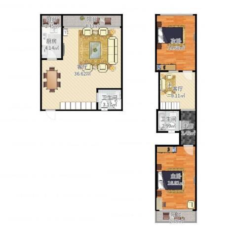福泰公寓a-5052室2厅2卫1厨125.00㎡户型图