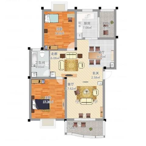 怡丰苑小区2室2厅1卫1厨144.00㎡户型图