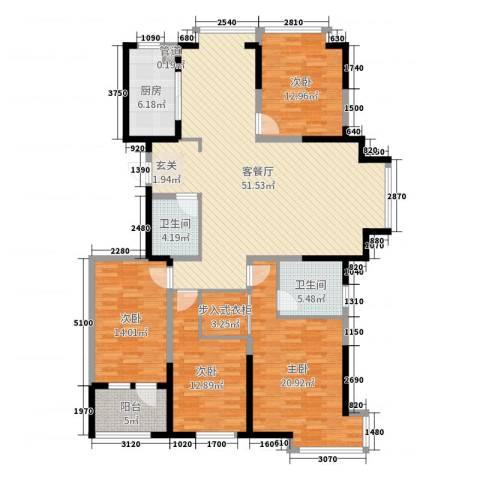 阿尔卡迪亚文承苑4室2厅2卫1厨170.00㎡户型图