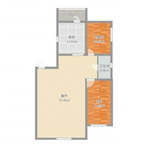 翠湖新村2室1厅1卫1厨129.00㎡户型图
