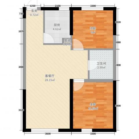 锦城邻里2室2厅1卫1厨88.00㎡户型图