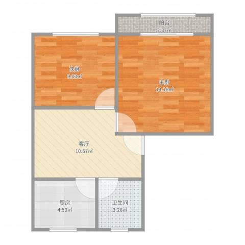 沈家宅2室1厅1卫1厨55.00㎡户型图