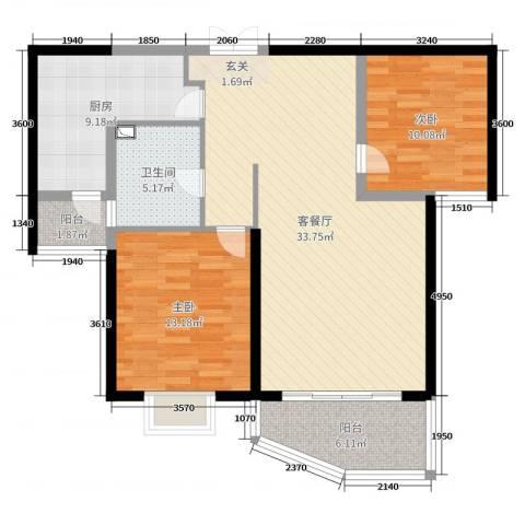 和泰馨和园2室2厅1卫1厨99.00㎡户型图