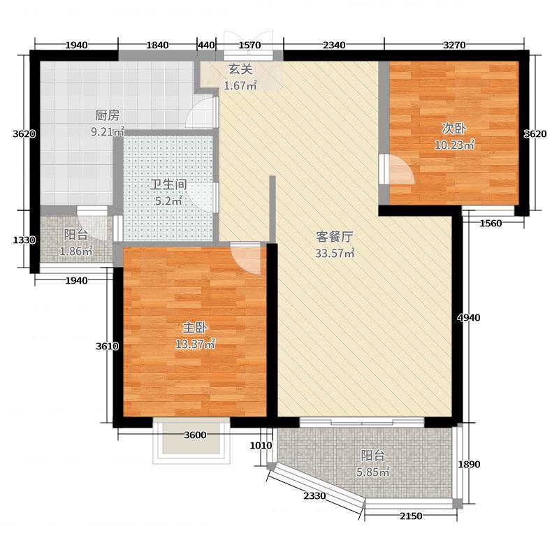 和泰馨和园99.18㎡1#号楼A1-3户型2室2厅1卫1厨